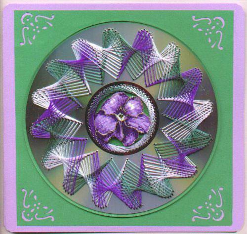 Нитяная графика (изонить (изображение нитью), ниточный дизайн) — графическое изображение, выполненное нитками на любом твёрдом основании. Пример готовой работы 4
