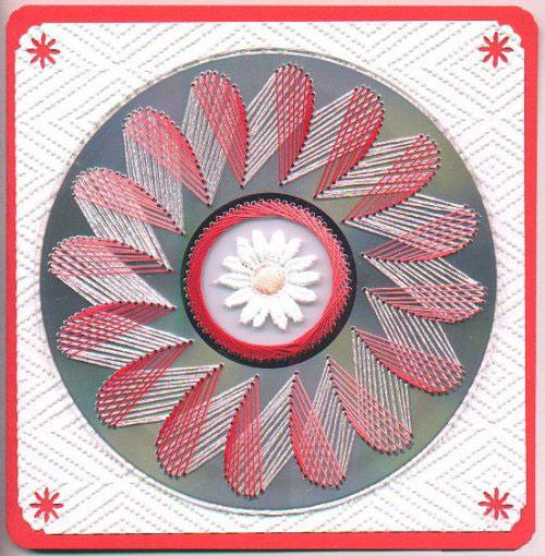 Нитяная графика (изонить (изображение нитью), ниточный дизайн) — графическое изображение, выполненное нитками на любом твёрдом основании. Пример готовой работы 5